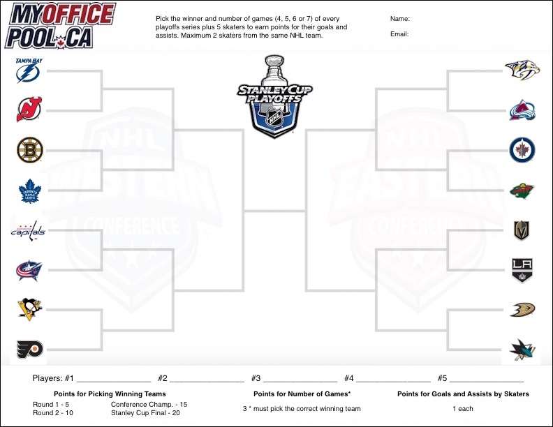 photograph regarding Printable Nhl Bracket identify One of a kind Hockey Playoffs Commish Up grade