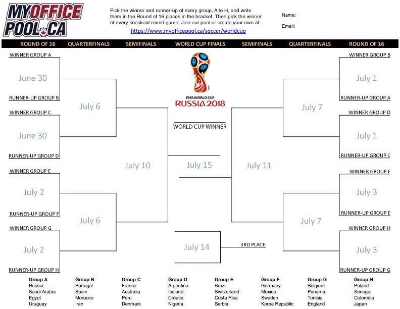 picture about World Cup Bracket Printable called Earth Cup Football Swimming pools MyOfficePool.ca